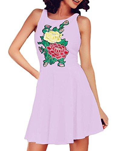 EOZY Sans Manche Courte Robe Trapèze Floral Broderie Dress Soirée Violet