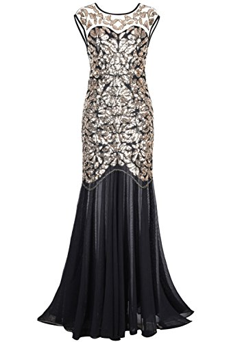 PrettyGuide Damen 1920s Schwarz Pailletten Gatsby Bodenlangen Abendkleid , Gold , 44-46 (Herstellergrosse: L)