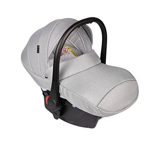 Clamaro \'JUNO black\' Auto Babyschale ultraleicht 2,95 kg mit Anti-Shock Schaumstoff, Gruppe 0+ (0-13 kg) ECE-R 44/04 - Baby Autositz inkl. Sonnenverdeck und Fußabdeckung - Hellgrau Leinen