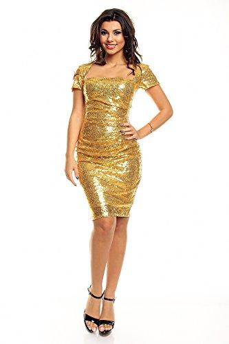 edles Paillettenkleid Glitzer Cocktailkleid Abendkleid mit Pailletten bestickt gold S - 2