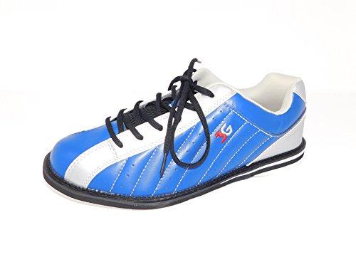 Bowling-Schuhe, 3G Kicks, Damen und Herren, für Rechts- und Linkshänder in 7 Farben Schuhgröße 36-48 (blau-Silber, 39 (US 6.5))