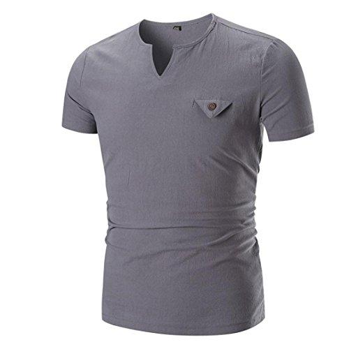 Einfarbiger Rundhalsausschnitt Pullover Leinen Oberteile T-Shirt Herren Bluse,Grau,XL