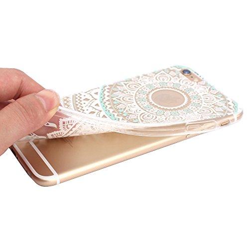 JIAXIUFEN Neue Modelle TPU Silikon Schutz Handy Hülle Case Tasche Etui Bumper für iPhone 6 Plus, iPhone 6S Plus, iPhone 6+, iPhone 6S+, White Mint Tribal Mandala Color06