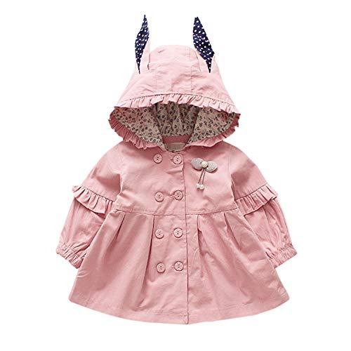 Hawkimin Baby Mädchen Cartoon Jacke Oberbekleidung Langarm Polka Dot Ohren Hoodie Kleidung Mantel Kapuzenjacke Windjacke