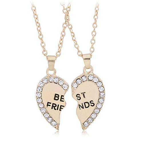 *Fajewellery Best Friend Halskette 2 Defektes Herz Liebes Anhänger Ketten-Halskette 2PCs 1Set / 2ST*