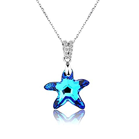 Pealrich Sterling Silver Starfish Blue Pendant Necklace with Swarovski Elements, Fashion Jewellery Women Love Gifts (Blue)