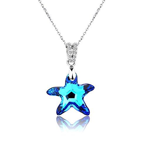 pealrich Sterling Silber Seestern blau Halskette mit Anhänger Swarovski Elements, Fashion Schmuck Frauen Love Geschenke