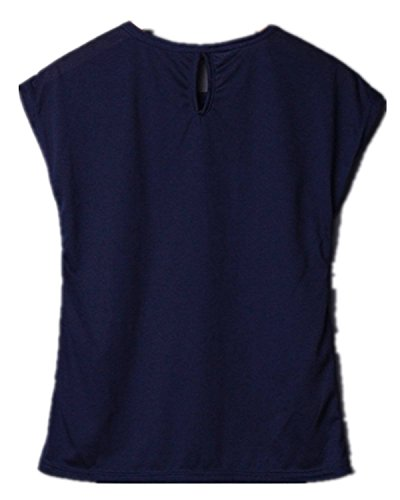 Minetom T-Shirt O-Collo, sexy Shirt für Damen mit kurzen Ärmeln, Motiv: Anker Blau