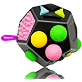 Fidget Cube 12 Sides Dodecagon Toy Stress And Anxiety Relief Relax For Children And Adults ADD/ADHD/OCD And Autisme Focus Distraction (Black&MixColor)