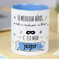 Nos Pensées | Tasse à café ou à thé en céramique | Cadeau original pour un PAPA | Le meilleur héros, ce n'est ni Spiderman, ni Batman, c'est mon papa | 100% RESISTANT au micro-ondes et au lave-vaisselle | Tasse avec un message pour une père | BEAU et EN EXCLUSIVITE | Emaillage brillant SPECIAL de qualité | Phrase et dessin créatifs inscrits sur la superficie | Idéal pour n'importe quelle boisson, infusion ou thé