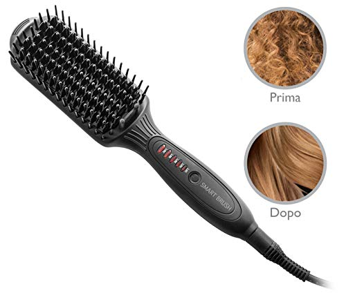 Macom 228 Utensilio de peinado Cepillo alisador Caliente Negro 2,5 m 50 W - Moldeador de pelo (Cepillo alisador, Caliente, 120 °C, 200 °C, 30 s, Negro)