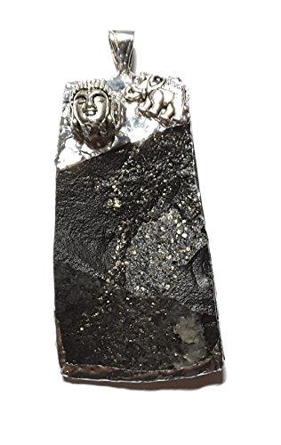 KRIO® - Pyrit in Schiefer mit Silberschlaufe als Anhänger mit Buddha und Elefant (Schiefer Spitze)