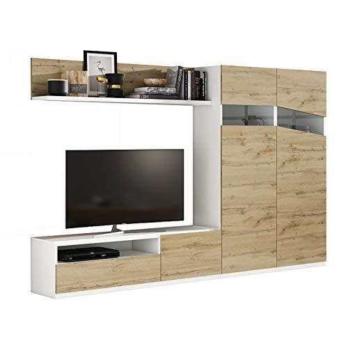 Tousmesmeubles Composition TV Chêne Blond/Bois Blanc - Camelia n°2 - L 270 x l 45 x H 185 - Neuf