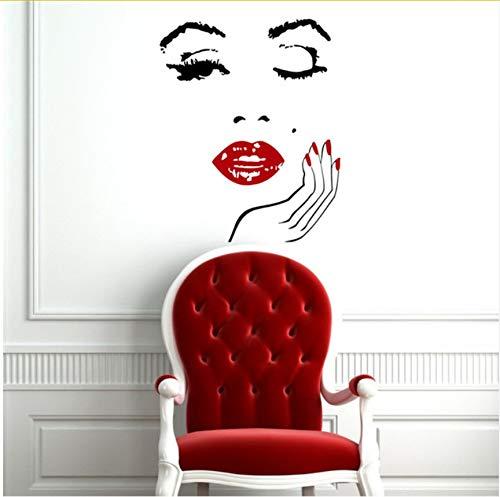 Abnehmbare Wandtattoos Vinyl Interior Home Decor Schönheitssalon Mädchen Gesicht Mit Hand Maniküre Nagel Lip Art Wandbilder Aufkleber 40X50cm