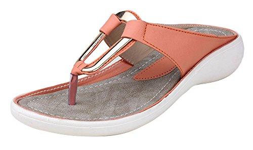 Digni simili cuir des femmes de cause à effet en plein air sandale plate 1 pair- choisir la taille Saumon