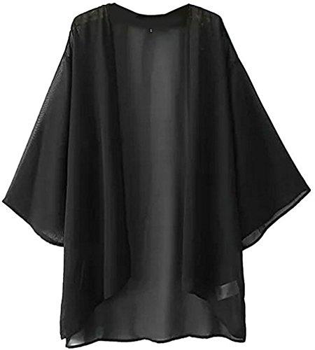 NEW-EC Women's Solid Loose Chiffon Jacket Sheer Shawl Cardigan Kimono Cover up Capes Tops