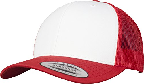 Flexfit Retro Trucker Colored Front Kappe, Red/Wht, One Size