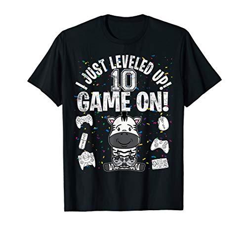 10 Years Old 10th Birthday Zebra Boy Girl  Video Game  T-Shirt (Und Rosa Zebra-party Supplies)