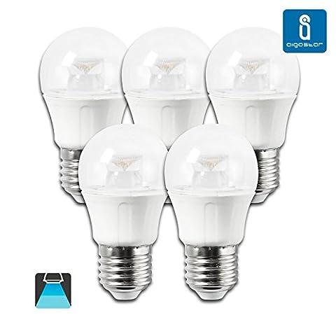 Aigostar 182809 - Lot de 5 ampoules LED E27 5W 330 lumens et lumière Blanc froid 6400K [Classe énergétique