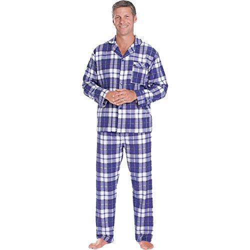 Herren Flanell-Pyjama mit Langen ?rmeln im Mantel-Stil in Schwarz Stewart - XX-Large