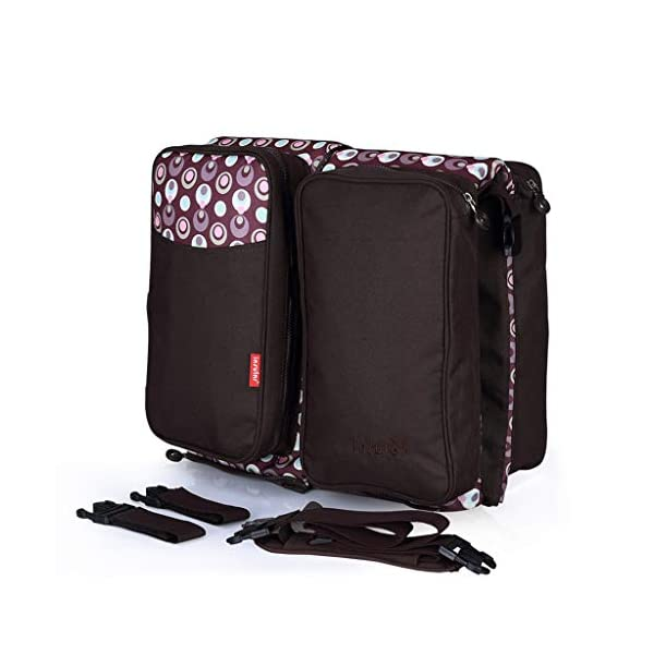 Baby Changing Bags 3-in-1 Universal Foldable Baby Travel Bed Portable Bassinet Crib Diaper Bag 0-12 Months, Brown WYTbaby ✿ BABY CHANGING BAG: This folding nappy bag not only can be a bag for putting baby diapers and baby daily stuffs but also can be a travel cot. It's pretty convenient and portable. Foldable is its special features. Crib is for your child to lay down and get some proper sleep during nap time. To have a padded space to play while staying safe and germ-free. It's really recommended for travel. ✿ STROLLER STORAGE BAG: Our multi-purpose diaper bag will neatly stash away all of your babies important stuffs with zippers for food, bottles, wipes and more. ✿ PRACTICAL HANDBAG: This versatile carry bag with adjustable and detachable shoulder straps and stroller straps. You can buckle it up to pram and pushchair, on the back of a carseat or on a shopping trolley. 2
