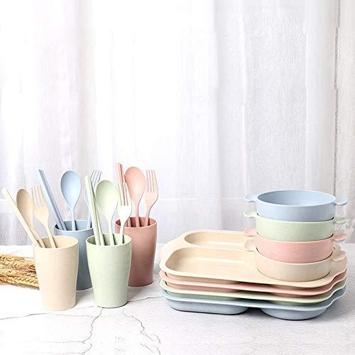 FULAISI 6-teiliges Kindergeschirr Geschenk-Set, Geteilt Teller, Schüssel, Tasse, Löffel, Gabel, Essstäbchen für Baby, Kinder Geschirr Set für Junge und Mädchen (Pink) - Für Kinder Platten Aufgeteilt