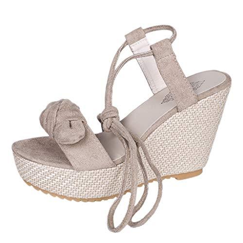 YBC Sandalias Zapatillas Zapatos de tacón Mujeres Punta Abierta Arco Transpirable Sandalias de Playa Roma con Cordones cuñas Casuales Zapatos(Beige,36)