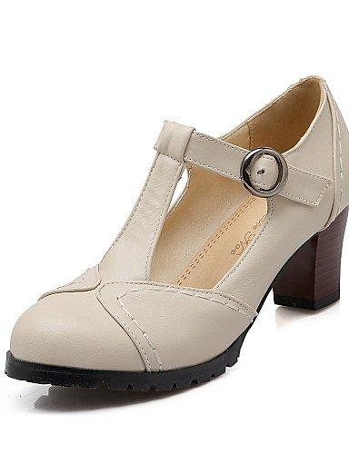 WSS 2016 Chaussures Femme-Bureau & Travail / Décontracté-Noir / Marron / Beige-Gros Talon-Talons / Bout Arrondi-Chaussures à Talons-Polyuréthane beige-us9.5-10 / eu41 / uk7.5-8 / cn42