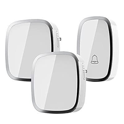 Wireless Doorbell, Weatherproof Wall Plug-in Cordless Door Chime at 1000-feet Range with 36 Tunes, 1 Push Button & 2 Receivers without Battery Required (white)