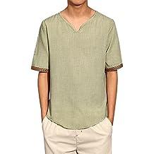 Weant Camicia Uomo Camicie Lino Maniche Corte T-Shirt Top Pullover Estive Allentata Traspirante Camicetta Maniche Lunghe Morbida Collare Stand Standar Polo Camicetta Moda M-5XL