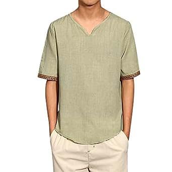 Weant Camicia Uomo Camicie Lino Maniche Corte T-Shirt Top Pullover Estive Allentata Traspirante Camicetta Maniche Lunghe Morbida Collare Stand Standar Polo Camicetta Moda M-5XL (Beige, M)