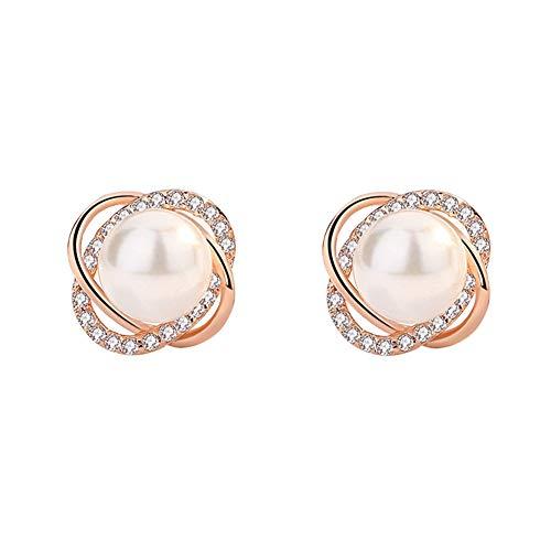 T.Hoow Placcato argento lucido orecchio perla viti inserto femmina trapano è la perla Orecchini oro rosa orecchio perla ornamenti e gioielliCheL'Oro