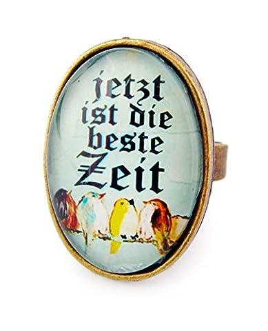 Miss Lovie Damen Vintage Vogel Zitat Ring Grün - 25x18mm Cabochon Bronze