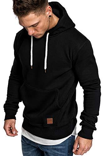 Amaci&Sons Herren Basic Kapuzenpullover Sweatjacke Pullover Hoodie Sweatshirt 4023 Schwarz XXL