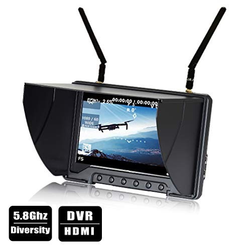 "Flysight FPV Monitor Black Pearl RC801 with DVR 5.8G 40CH Wireless 7"" LCD Screen Diversity Receiver 1024 x 600 HD Display Built in Battery Sunshade Hood for RC Quadcopter DJI Flying Wing (RPSMA ANT)"