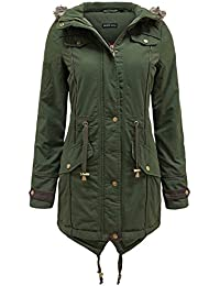 THE AMBER ORCHID LADIES WOMENS FUR HOOD FISHTAIL MILITARY PARKA WINTER JACKET COAT 8-22
