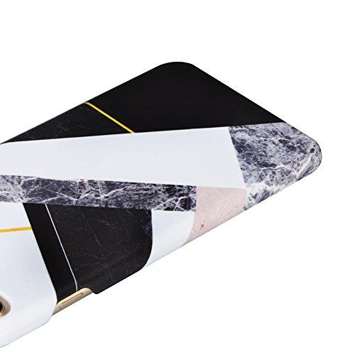 iPhone 6S Plus Hülle,iPhone 6 Plus Case,Sunroyal Cool Retro Gold Weiß Marble Marmor Ultra Dünne Slim Hart PC Case Hülle Haut Zurück prägen Bunte Malerei Pattern Schutzhülle Cover Hart Rückseite Handyt Pattern 05