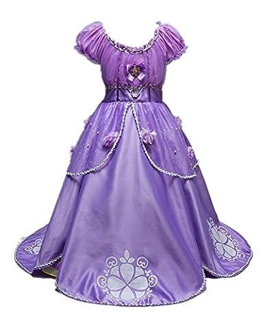 Beunique@ Prinzessin Kostüm Kinder Violett Kleid Mädchen Weihnachten Verkleidung Karneval Party Halloween Fest Cosplay