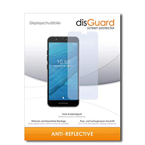 disguard pellicola protettiva [anti-reflex] compatibile con fairphone fairphone 3 [2 pezzi] antiriflesso, matt, no reflexion, ultra resistente, effetto anti-impronte - proteggi schermo
