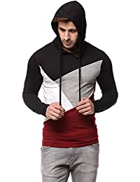 GRITSTONES Men Cotton Black/Maroon Hooded T-Shirt