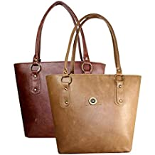 Flora Premium Women's PU Leather Handbag (Combo of 2) -Tan/Light Brown, FLORA-119