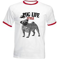 Teesquare1st PUG LIFESTYLE Tshirt de hombre con bordes rojos Size XLarge
