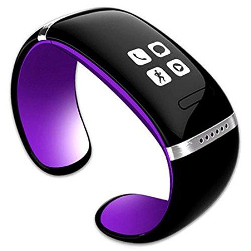 CursOnline® Orologio Bracciale Bluetooth con VivaVoce, Mp3, Nuovo Modello Slim, con Sincronizzazione Rubrica, Contapassi, Pedometro, (Viola Bluetooth)