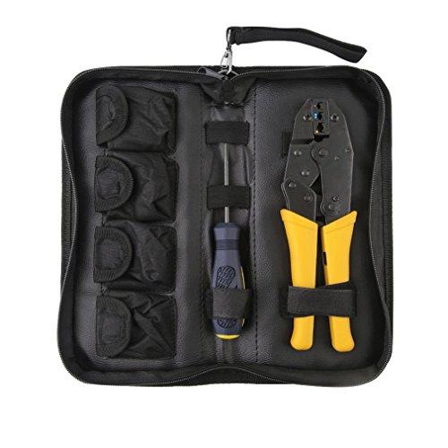 Universal Crimpzange Kabelschuhzange mit 5 wechselbaren Einsätzen, Presszange für Kabelschuhe inklusive Schraubenzieher, Aderendhülsen Werkzeugtasche