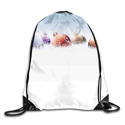 EELKKO Drawstring Backpack Gym Bags Storage Backpack, Vibrant Baubles On Snow Field In Winter Spirit of Noel Themed Frosty Artful Design,Deluxe Bundle Backpack Outdoor Sports Portable Daypack