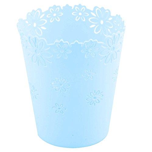 sourcingmap® Schreibtisch Kunststoff Aushöhlen Blumen Design Speicher Korb Himmel Blau