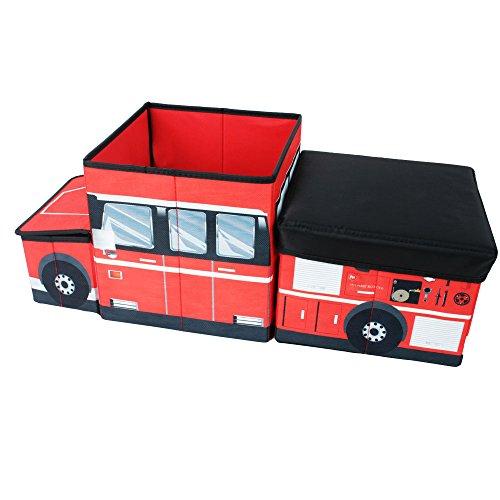 Textil Caja de almacenamiento Juego pecho Caja de juego plegable y separado Camión de bomberos con tapa