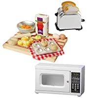 Momangel 1/12 Scale Miniature Mini Lovely Wooden Microwave Oven Model Mini House Accessories Pretend Play Toys Gift