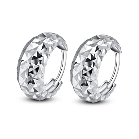 14ct 585 White Gold Diamond-Cut Band Huggie Hoop Creole Earrings (8MM) Black Friday Christmas Jewellery Gift for Women Girls