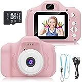 Macchina Fotografica per Bambini, Digital Camera Kids Videocamera, Bambini Fotocamera Digitale Portatile Selfie Videocamera (Rosso)
